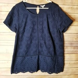 Crown & Ivy navy blue top size L